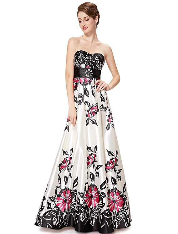 Ever Pretty Strapless Ruched Bust Empire Waist Printed Prom Gown 08424