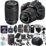 Nikon D3200 24.2 MP CMOS Digital SLR with 18-55mm f/3.5-5.6 AF-S DX VR NIKKOR Zoom Lens & Nikon 70-300mm f/4-5.6G AF Nikkor Lens & CS Premium Package: Includes Transcend 32GB SDHC Memory Card, SD Card Reader, Memory Card Wallet, SLR Hand Strap, Lens Cap Keeper, High Definition Wide Angle Lens, Telephoto HD Lens, 3 Piece Filter Kit, 4 Piece Macro Close Up Set, Wireless Shutter Release, Shoe Mount Flash, Nikon ENEL14 Replacement Battery, Rapid Travel Charger With Car Adapter, HDMI Cable, Tulip Lens Hood, Full Size Tripod, Weather Resistant Carrying Case, Brush Blower, Cleaning Kit, LCD Screen Protectors & CS Microfiber Cleaning Cloth