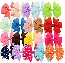 20pcs Hair Bows-15 Pure Color+5 Polka Dot- Alligator Clip Grosgrain Ribbon Headbands for Baby,Girls and Young Women