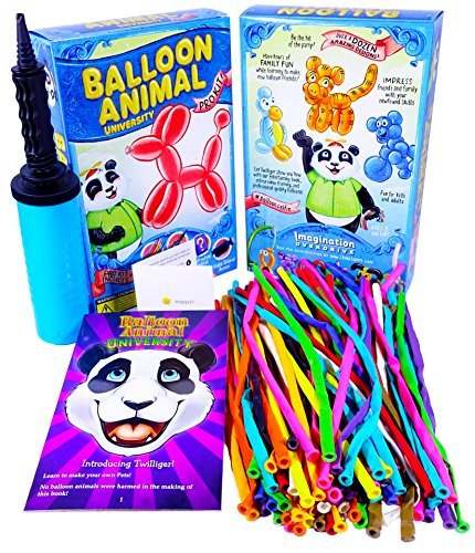 Balloon Animal University PRO Kit. 100 Balloons Custom Colors with Qualatex balloons, Jumbo PRO Dbl-Action Air Pump, Book, and Online Video Training Access. Learn to Make Balloon Animals Starter Kit. (Modelling Balloons compare prices)