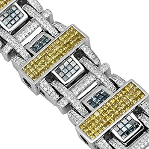 14K White Gold Mens Diamond Bracelet with Blue and Yellow Diamonds 19.73 Ctw