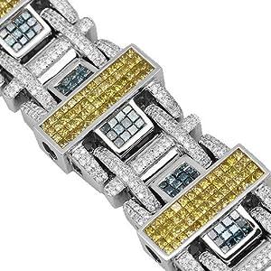 14K White Gold Mens Diamond Bracelet with Blue and Yellow Diamonds 19.73 Ctw