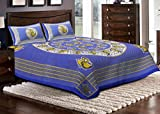 Jaipuri Haat Cotton Double Bed Sheet With 2 Pillow Covers- Blue