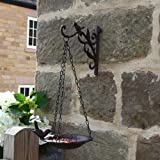 Outdoor Garden Cast Iron Wall Mounted Bird Hook Bracket with Hanging Bird Bath 32cm & FREE Bird Food