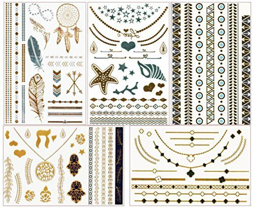 chictats-temporary-flash-tattoos-metallic-gold-silver-5-sheet-pack-bling-body-art-jewellery-for-wome