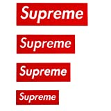 4 Pack Supreme Patches Logo Set Iron on or Sew on Multi Size Patch Kit DIY Badge Embroidered Applique Decorative for Clothing Jeans Jackets T-Shirt Backpacks (4 Pieces Red) (Color: 4 Pieces Red)