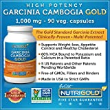 #1 Garcinia Cambogia Extract Pure, 1000 mg per Capsule, 90 Veg. Capsules - High Potency Garcinia Cambogia GOLD - Features Multi-patented SuperCitrimax® 60% HCA Bound to Potassium and Calcium - The Clinically-Proven Appetite Suppressant and Weight-loss That Works