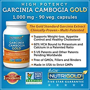 #1 Garcinia Cambogia Extract Pure, 1000 mg per Capsule, 90 Veg. Capsules – High Potency Garcinia Cambogia GOLD – Features Multi-patented SuperCitrimax® 60% HCA Bound to Potassium and Calcium – The Clinically-Proven Appetite Suppressant and Weight-loss That Works