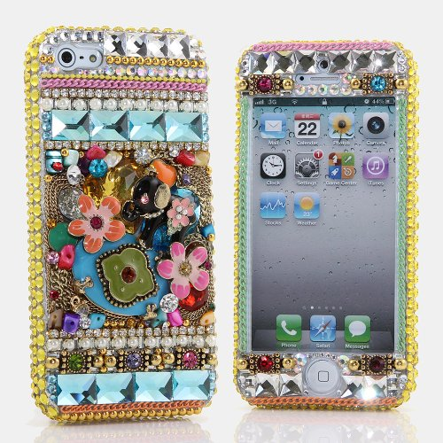 Special Sale BlingAngels® 3D Luxury Bling iphone 5 5s Case Cover Faceplate Swarovski Crystals Diamond Sparkle bedazzled jeweled Design Front & Back Snap-on Hard Case + FREE Premium Quality Stylus and Water-Resistant Bag (100% Handcrafted by BlingAngels) (Elephant Design)