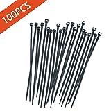 YiTai 100 Piece Multi-Purpose Nylon Zip Ties - 4 Inch Self Locking Cable Ties, Black