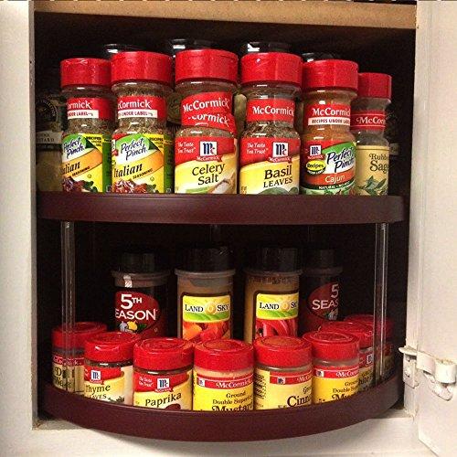 Kitchen cabinet storage organizer turntable wine d shape lazy susan spice rack ebay - Spice rack for lazy susan cabinet ...