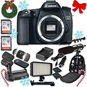 Canon EOS 70D 20.2 MP AF Full HD 1080p DSLR Camera Body Only + 2pc SanDisk 32GB Memory Cards + Battery Grip + Promotional Holiday Accessory Bundle