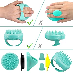 Shampoo Brush, 2 Pack Hair Scalp Massager Shampoo Brushes with Easy Handle for Curly Girls, Kids, Elders and Family ( Natural Green, Noble Purple )
