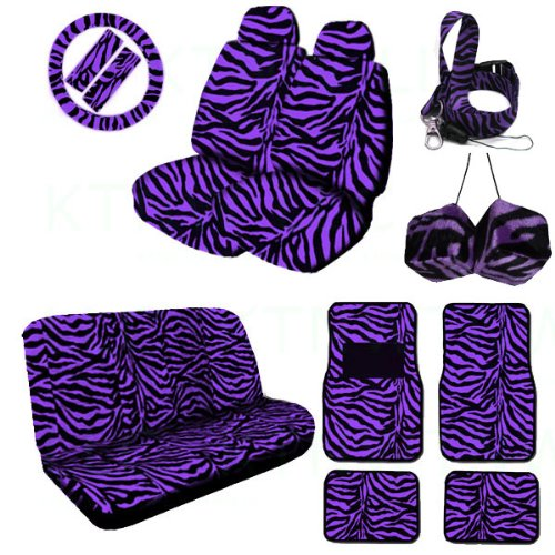 A Complete Animal Print Seat Cover And Accessories Set 2 Low Back Seat Covers With Headrest Cover, Bench Seat Cover, Wheel Cover, 2 Shoulder Pads, 2 Front Floor Mats, 2 Rear Floor Mat, Hanging Dice And Lanyard Key Chain - Zebra Purple - Zebra Purple front-113984