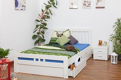 """Bett mit Stauraum """"Easy Sleep"""" K8 inkl. 4 Schubladen und 2 Abdeckblenden, 140 x 200 cm Buche Vollholz massiv weiß lackiert"""
