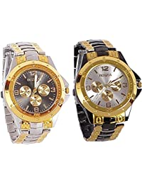 BLUE DIAMOND Combo Of 2 Analogue Multicolor Dial Mens And Boys Watch-M-Combo-S.Black.Rosra+Rosara