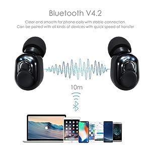 COSROLE Wireless Bluetooth Earbuds, Bluetooth Headphones V4.2 Mic Earpieces 6 Hours Talking Time True Wireless Stereo Hands Free Call in-Ear Sweatproo