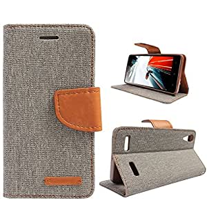 Online Street Quality Wallet Style Flip Cover For Xiaomi Redmi Note 4G - (Matte Grey)