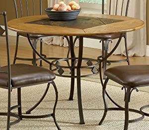 Round Dining Table With Slate Top In Brown Finish