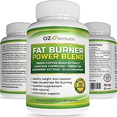 OZ Formulas, Fat Burner, Power Blend - Best Weight Loss, Metabolism Supplement For Men/Women - The All Natural, Appetite Suppression, Diet Pill that Really Works - Quality and Satisfaction Guaranteed