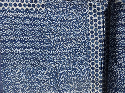"Buy Bargain ""Marubhumi"" Hand Block Printed Kantha Quilt, Queen Size Patchwork Cotton Bedsp..."