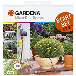 gardena 1398 micro drip watering starter kit with timer automatic lawn irrigation. Black Bedroom Furniture Sets. Home Design Ideas