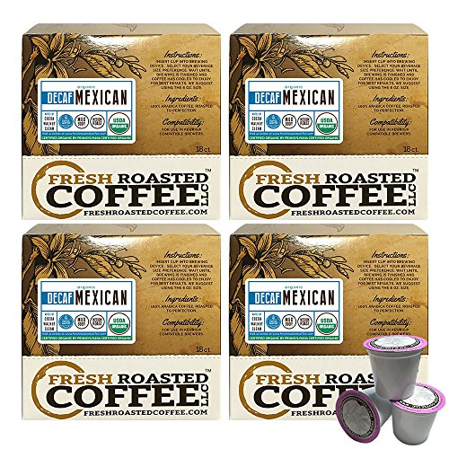 Mexican SWP Decaf Organic Single-Serve Cups, 72 ct. of Single Serve Capsules  for Keurig K-Cup Brewers, Fresh Roasted Coffee LLC. (Mexican Decaf Coffee K Cup compare prices)