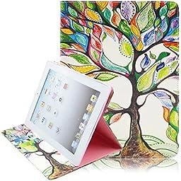 iPad Case, iPad 2/3/4 Case, Dteck(TM) Cartoon Cute PU Leather [Kickstand] Flip Case with Cards Slots for Apple iPad 4 with Retina Display & iPad 2 & iPad 3 (01 Big Tree)