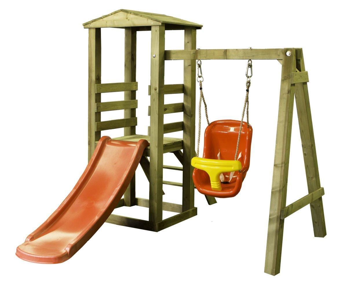Woodinis-Spielplatz 186210-1 – Baby Spielturm aus Holz, 1-4 Jahre inklusiv Zubehör online bestellen