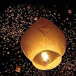 Z ZTDM 50 Pack Fire Sky Lanterns Chinese Paper Sky Flying Wishing Lantern Lamp Candle Party Wedding Wish ( Kongming Wish Lanterns ) (White)