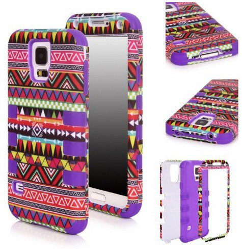 Matek(Tm) For Samsung Galaxy S5 Sv I9600 G900 Fashional Printed Hard Soft High Impact Hybrid Armor Defender Combo Case (Indian Tribes Purple) With 1 Screen Protector, 1 Matek Wristband And 1 Microfiber Cleaner