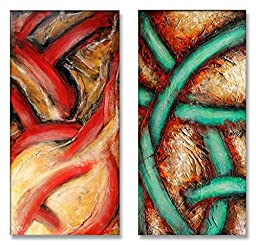 Neron Art - Handpainted Abstract Oil Painting on Gallery Wrapped Canvas Group of 2 pieces - Pau 16X16 inches