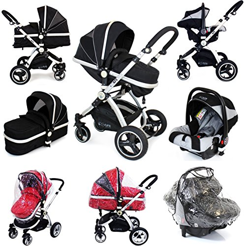 i-Safe System - Black Grey Travel System Pram & Luxury Stroller 3 in 1 Complete With Footmuff, Head support, Carseat...
