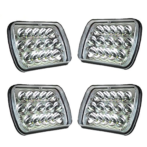 Aosi 7x6 Inch LED Headlights Bulb Cree Sealed Beam Replacement HID Xenon H6014 H6052 H6053 H6054 Projector Lens FIT 86-95 Jeep Wrangler Rectangular Freightliner Peterbilt International Mack 45W 4PC (6054 Led Sealed Beam Headlight compare prices)