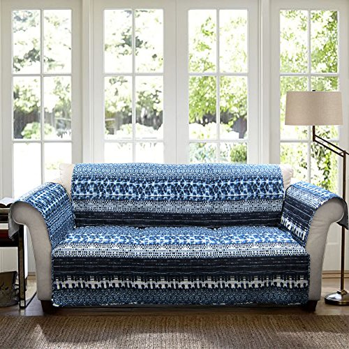 Lush Decor Lambert Tie Dye Slipcover/Furniture Protector for Sofa, Navy (Tie Dye Quilt compare prices)