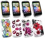 Emartbuy® HTC Desire S Bundle Pack of 4 Gel Silicon Skin Cover/Case - Lipstick Kisses, Circles & Flowers, Oriental Flowers & Purple Bloom