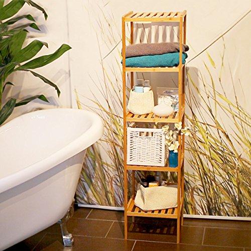 Relaxdays mobile a scaffali per il bagno con 5 ripiani marrone braun - Scaffali per bagno ...