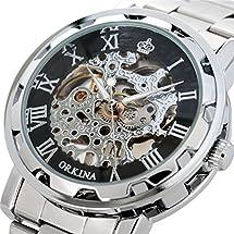 GuTe Steampunk Style Silver Black Men's Skeleton Mechanical Hand-wind Wrist Watch