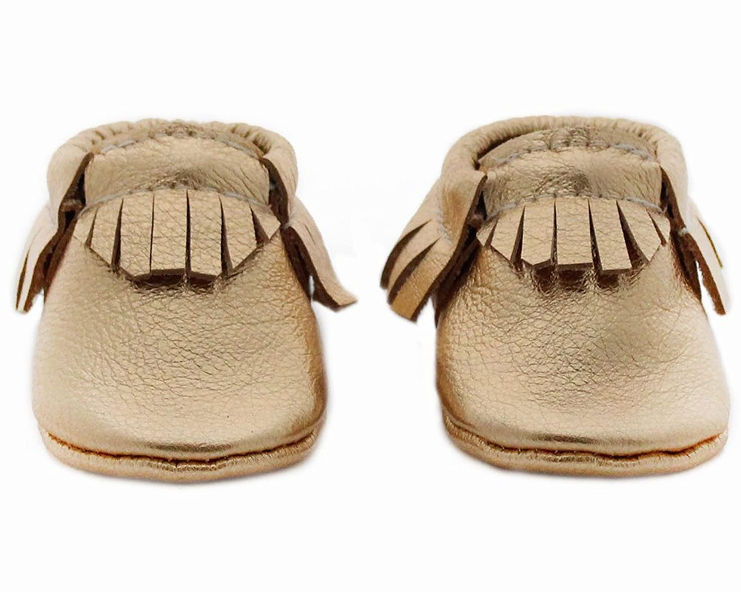 Baby Moccasins, The Coral Pear Classic Moccasin, Genuine Leather, (Infant, Toddler, Kids)