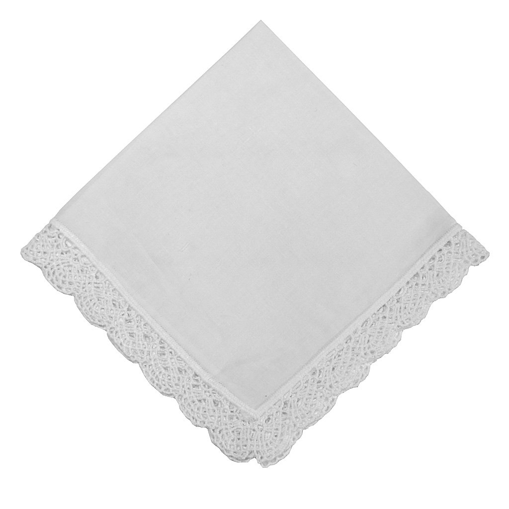 Dainty Cotton Handkerchief with Crochet Edges Set of 3 1