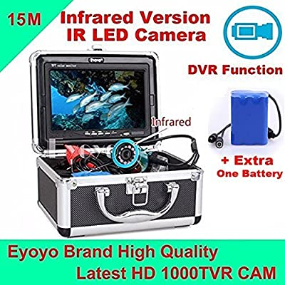 "Eyoyo Original 15M 1000TVL HD CAM Professional Fish Finder Underwater Fishing Video Recorder DVR 7"" Color Monitor Infrared IR LED lights +Extra One Battey + 4GB SD card"