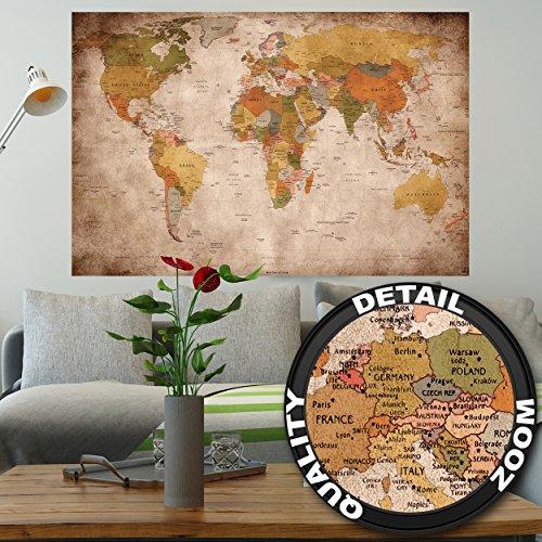 Mappa del mondo FOTOMURALE - vintage retrò motivo - XXL mappe del mondo quadro -tappezzeria da parete /decorazione da parete 140 cm x 100 cm