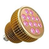 LED Grow Light Bulb, TaoTronics Full Spectrum Grow Lights for Indoor Plants, Grow Lamp, Plant Lights for Hydroponics, Organic Soil (36W, All Wavelengths, FREE E26 Socket) (Color: Golden, Tamaño: 36 Watts)