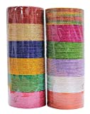 MUCHMORE Indian Bollywood Fashion 12 Colors Plain Bangle Box Partywear Ethnic Jewelry (2.4 Inches)