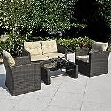 Giantex 4 PCS Cushioned Wicker Patio Sofa Furniture Set Garden Lawn Seat Gradient Brown