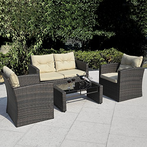 Giantex 4 PCS Cushioned Wicker Patio Sofa Furniture Set Garden Lawn Seat Gradient Brown