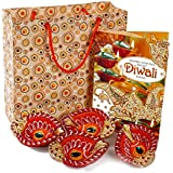 Giftacrossindia Set Of 4 Earthen Diyas With Diwali Greeting Card In A Bag For Diwali Home Decor Gift Collection
