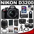 Nikon D3200 Digital SLR Camera & 18-55mm & 55-200mm DX AF-S Zoom Lens and Case with 32GB Card + Battery + Charger + Grip + Tripod + Tele/Wide Lenses + Kit