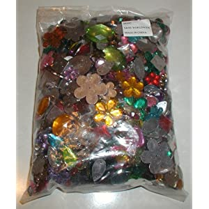 S+S Faceted Acrylic Gemstones, 1/2 Lb. (Bag of 2000) Super hard, clear acrylic gemstones have a scratch-resistant, heavy foil backing.