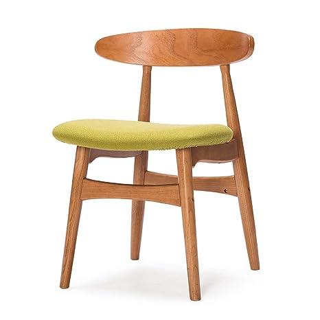 Sillas de comedor, sillas traseras de madera maciza, escritorios y sillas, mesas y sillas modernas de centro de mesa, sillas retro nórdicas ( Color : Verde )